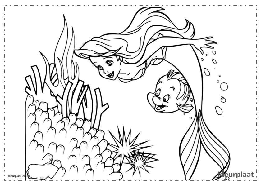 De kleine zeemeermin Ariël en Botje kleurplaten van the little Mermaid tekeningen