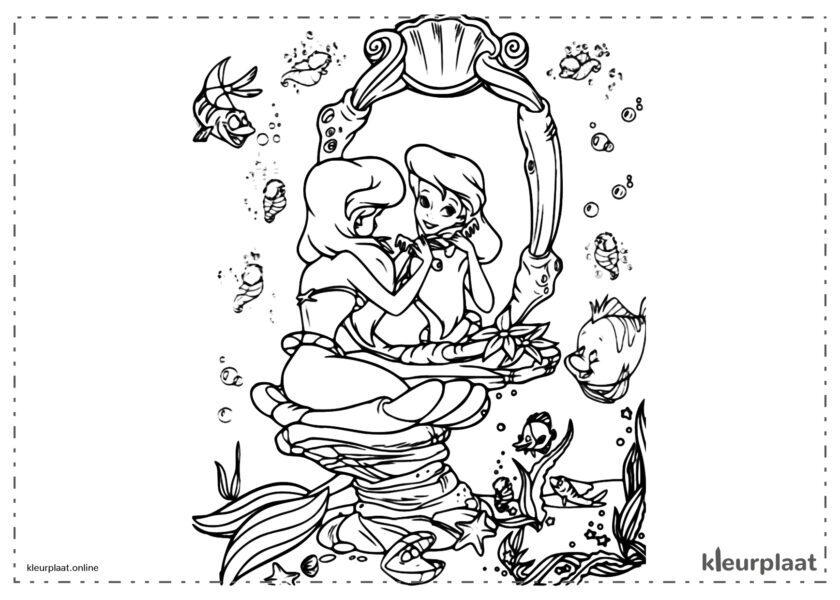 De kleine zeemeermin Ariël in de spiegel kijken kleurplaten van the little mermaid tekeningen