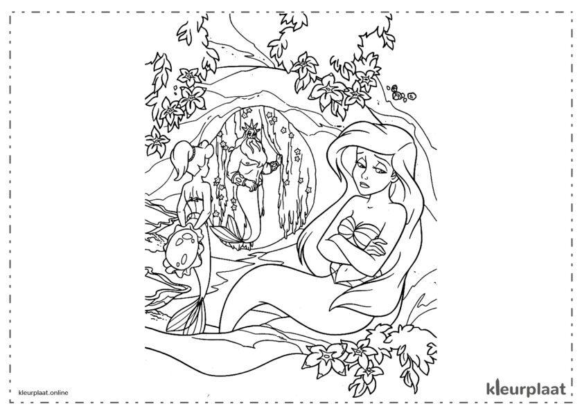 De kleine zeemeermin Ariel Vanessa en koning triton kleurplaten van the little mermaid tekeningen
