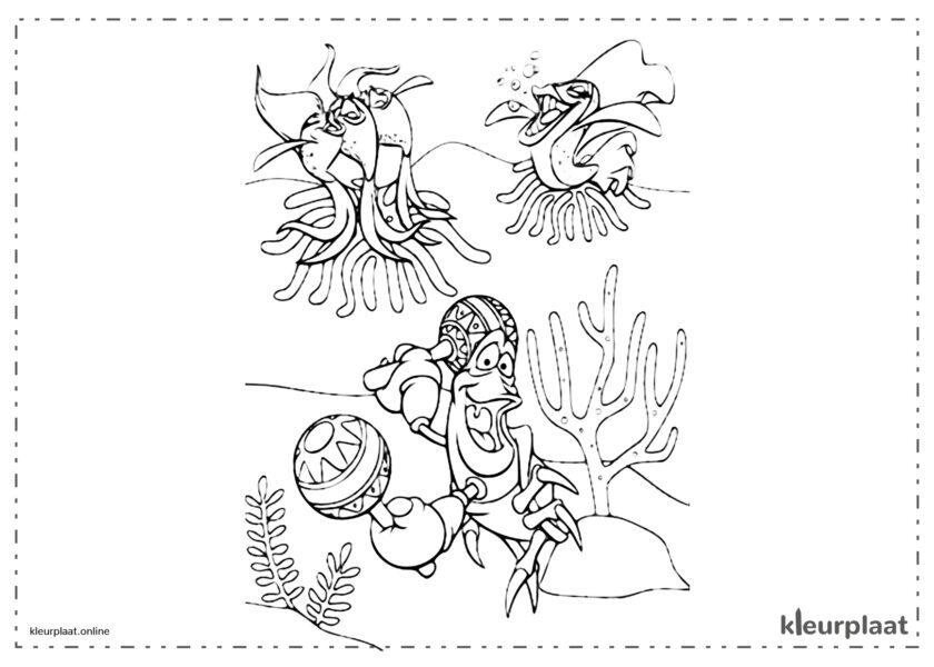 De kleine zeemeermin Sebastiaan zingend onder de zee kleurplaten van the little mermaid tekeningen
