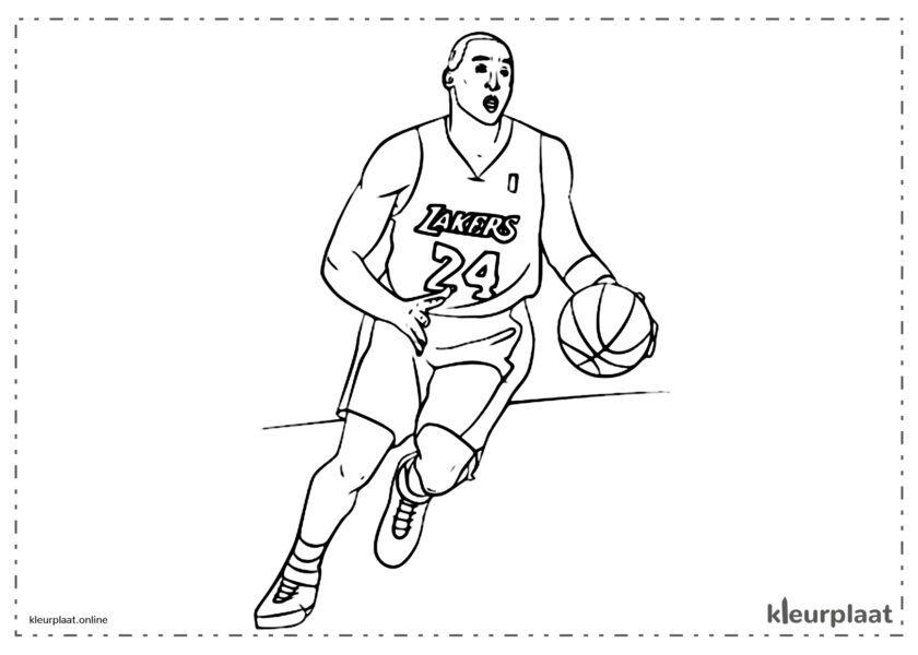 Kobe Bryan die basketbal spelen bij de lakers