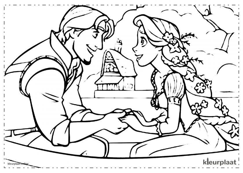 Prinses Rapunzel en Flynn verliefd