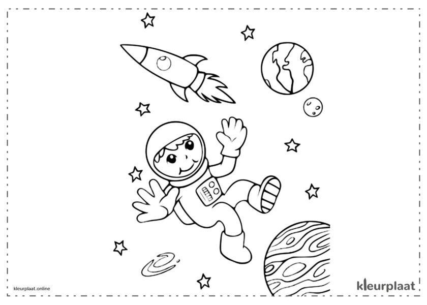 Astronaut die in de leegte buiten het ruimteschip drijft