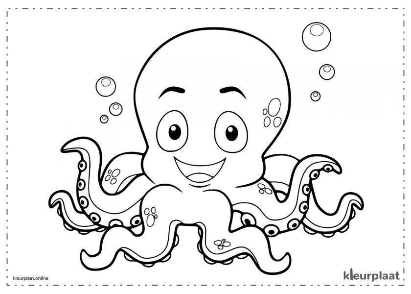 Baby-octopus lachend op de bodem van de zee
