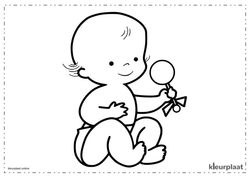 Baby speelt met de rammelaar