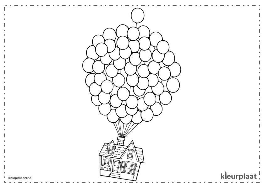 Ballonnen die disneys Up huis wegnemen