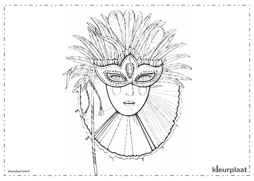Carnavalsmasker met veren