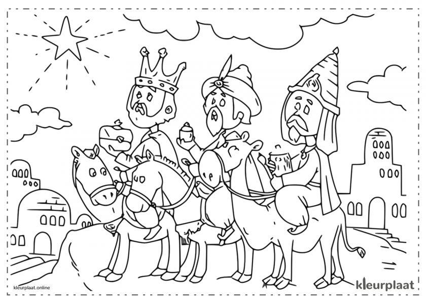 De drie Koningen na de kerstster naar Bethlehem