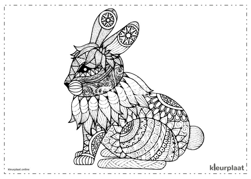 Mandala konijn mandala kleurplaat tekenen