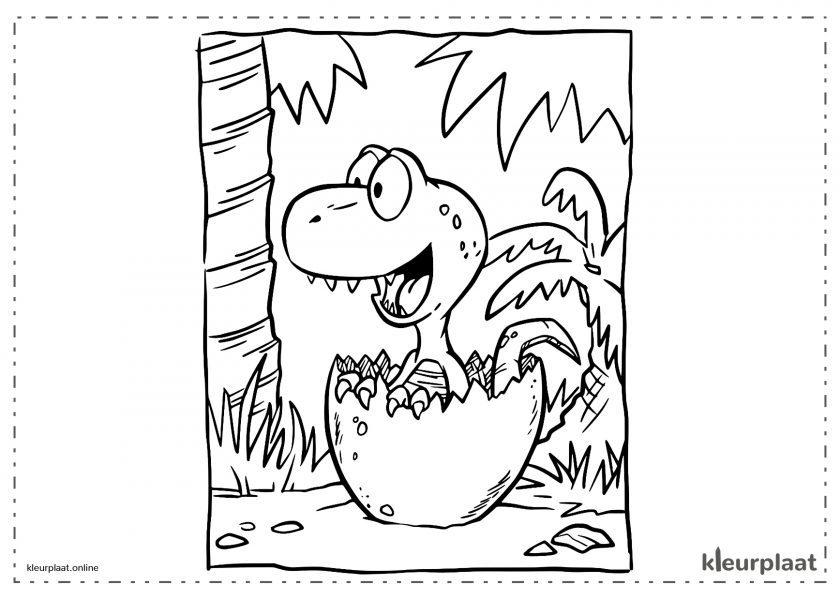 Babydinosaurus die uit het ei komt