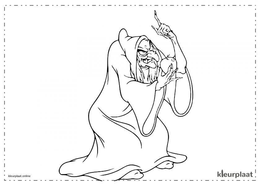 Sneeuwwitje de heks brengt hem de appel.