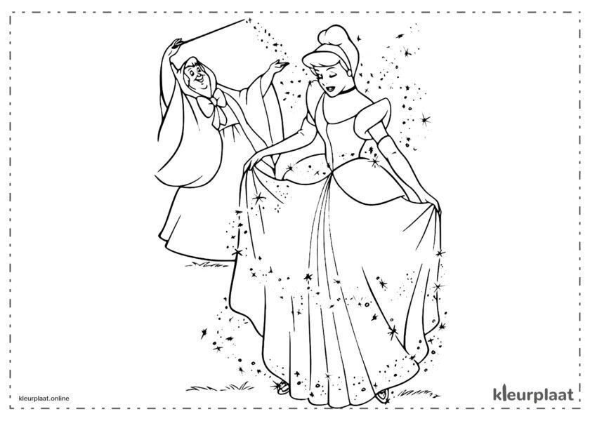Assepoester de feeëngodin die van Assepoester een prinses maakt kleurplaten van cinderella tekeningen