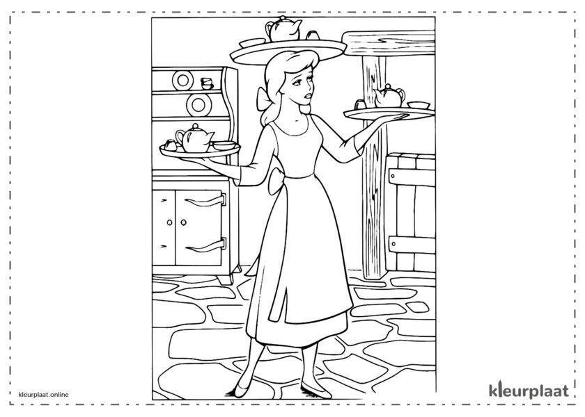 Assepoester die werkt als schoonmaakster kleurplaten van cinderella tekeningen