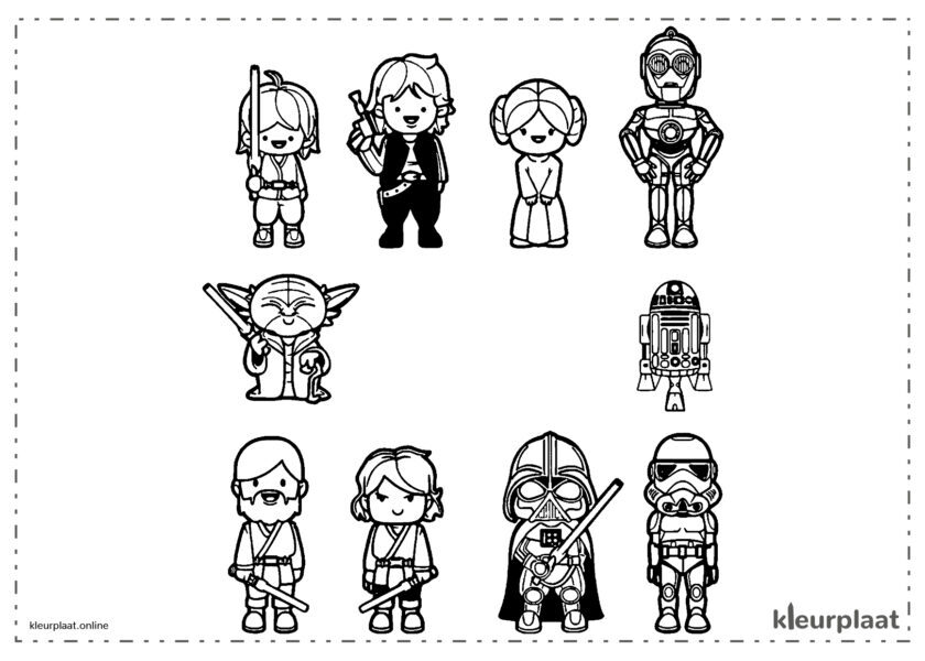 Veel personages Kawaii van Star Wars