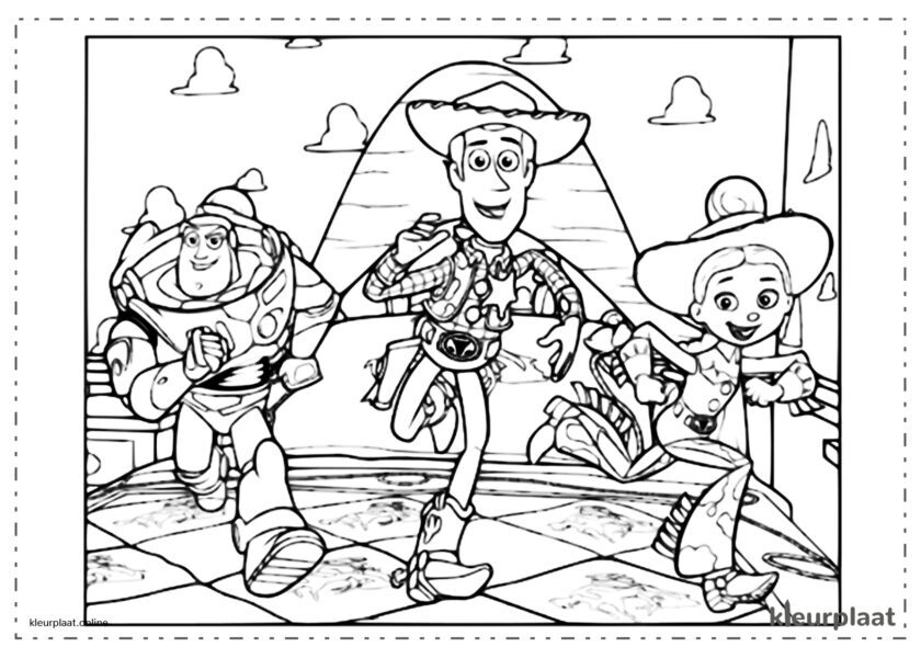 Toy Story 4 Woody en Buzz Lightyear met Jessie tekenen