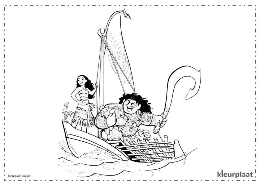 Vaiana en Maui zeilen op een zeilboot
