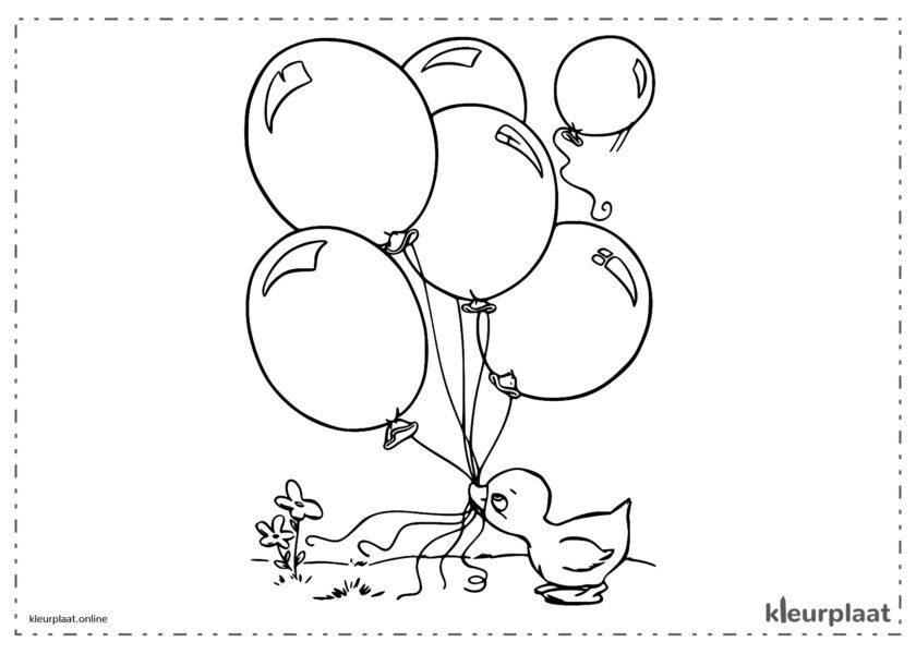 Eend die ballonnen vasthoudt met zijn snavel