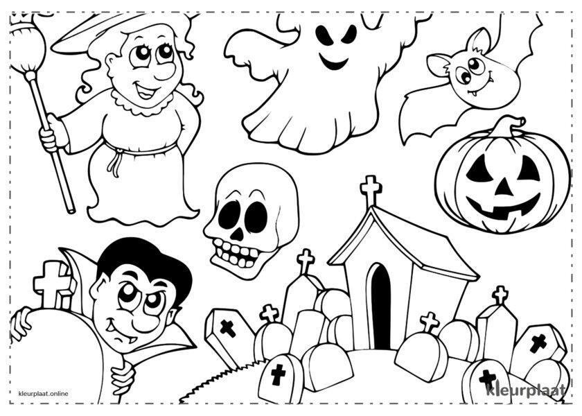 Dracula, spook en heks op Halloween