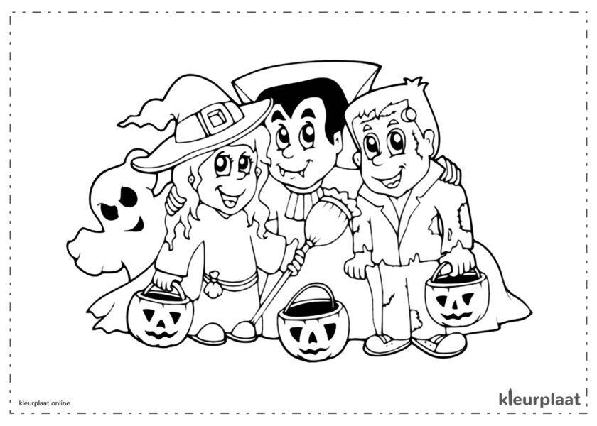 Heks vampier en Frankenstein op Halloween