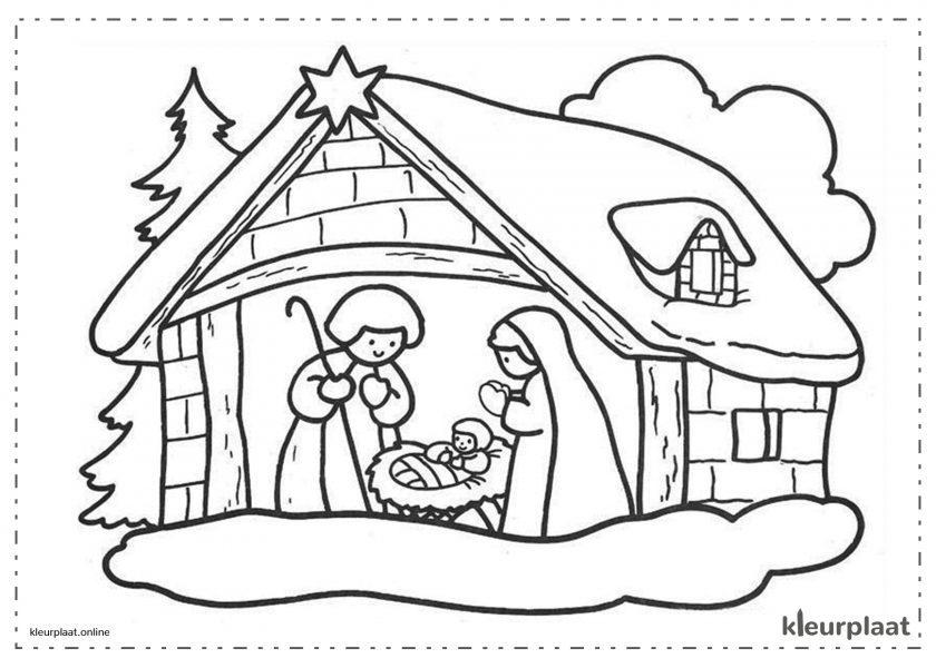 Kerststal huis kerstmis