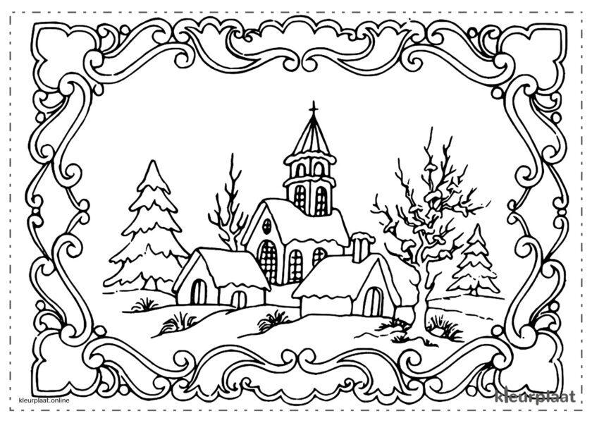 Dorp met zijn besneeuwde kerk