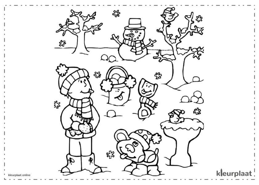 Winterlandschap met bomen en een sneeuwpop