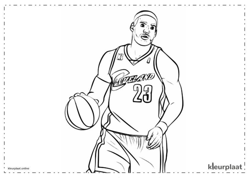 Lebron James in de NBA die basketbal speelt voor de Cleeveland Cavaliers