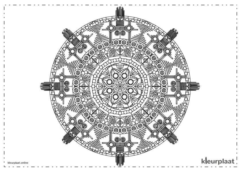 Mandala Azteeks kasteel mandala kleurplaat tekenen