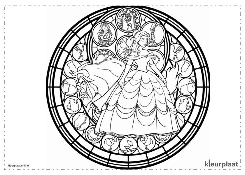 Mandala disney schoonheid en het beest mandala kleurplaat tekenen