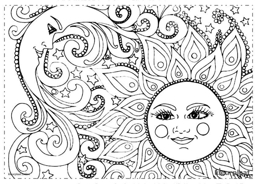 Mandala elegant zon en maan kleurplaat mandala tekenen