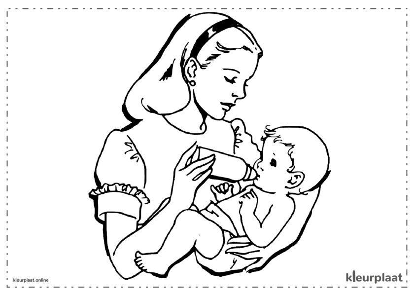 Moeder die baby de fles geeft