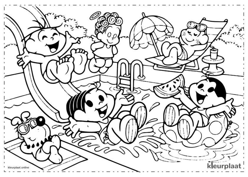 Monica's Groep in de zomer aan het zwembad