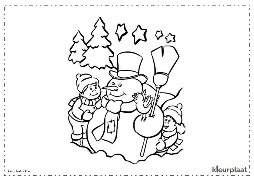Sneeuwpop met kinderen