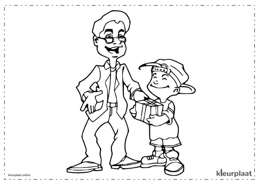 Kind dat een geschenk aanbiedt aan zijn vader