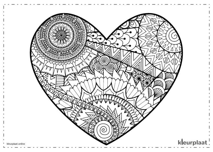 Hart mandala om te kleuren op Valentijnsdag
