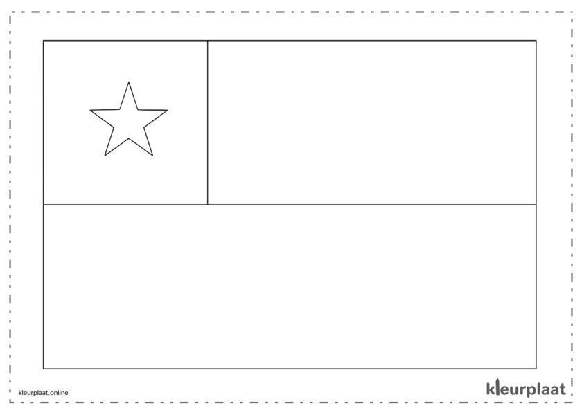 Kleurplaat vlag Chili