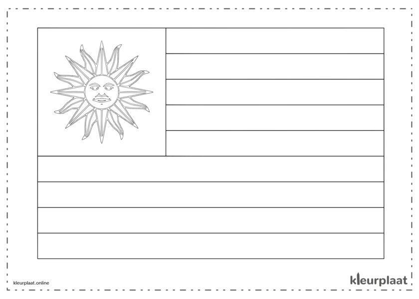 Kleurplaat vlag Uruguay