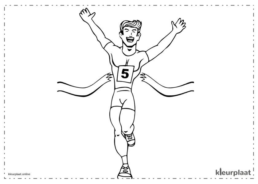 Atleet die de finishlijn passeert in de 100m-race