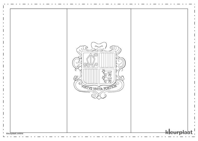 Kleurplaat vlag Andorra