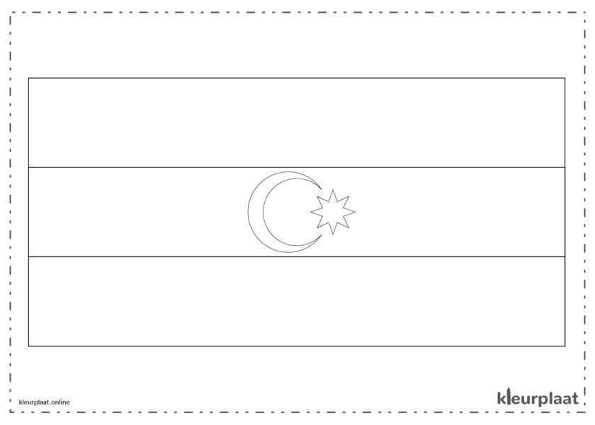 Kleurplaat vlag Azerbeidzjan
