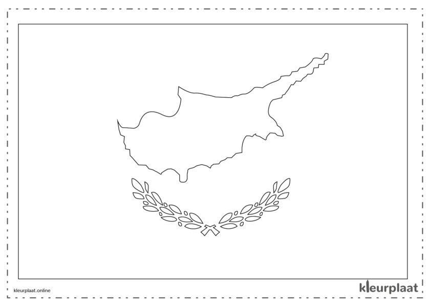 Kleurplaat vlag Cyprus