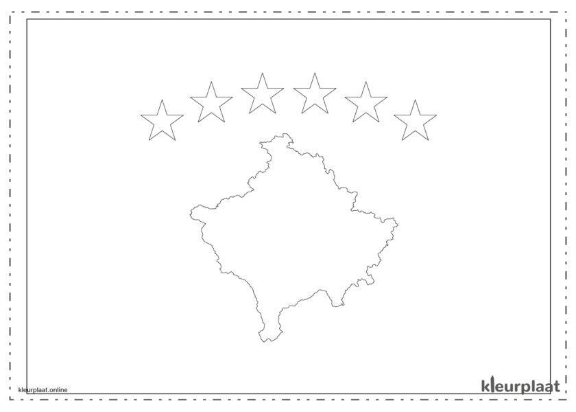 Kleurplaat vlag Kosovo