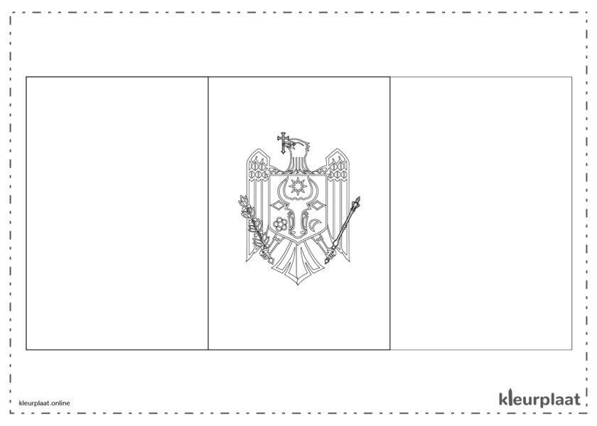 Kleurplaat vlag Moldavië