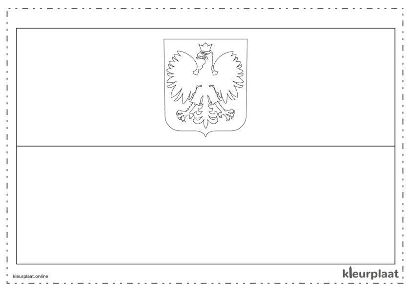 Kleurplaat vlag Polen