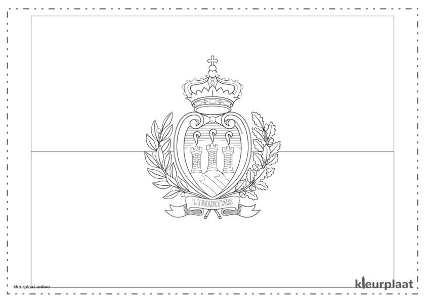 Kleurplaat vlag San Marino