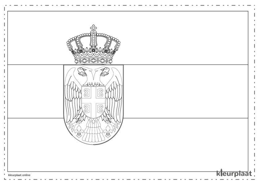 Kleurplaat vlag Servië