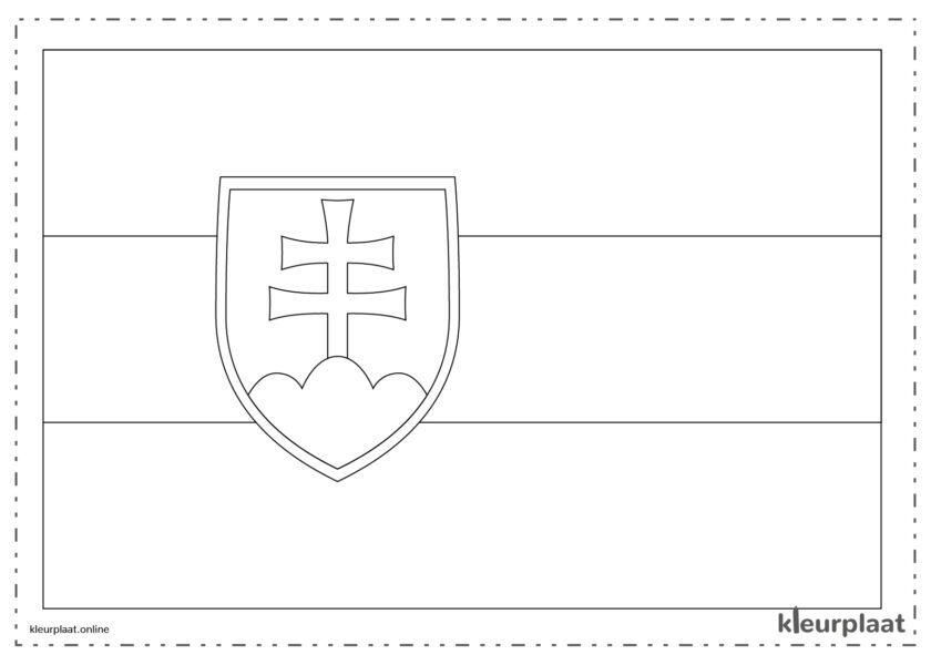 Kleurplaat vlag Slowakije